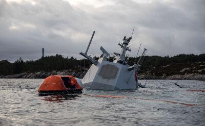 Norweska fregata KNM Helge Ingstad tonie mimo wysiłków