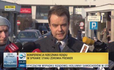 Rzecznik rządu: premier zostanie kilka dni w szpitalu, nie miała zabiegu chirurgicznego