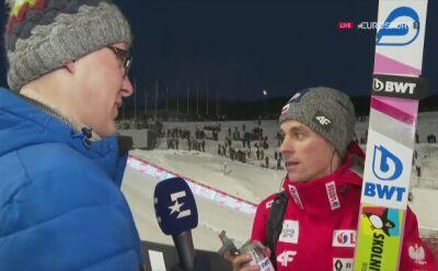 Piotr Żyła roześmiany w wywiadzie po Trondheim