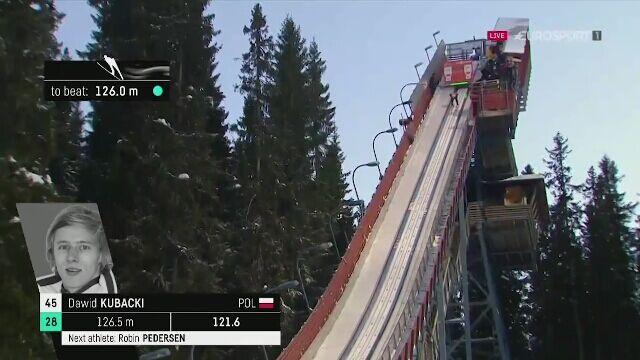 Skok Dawida Kubackiego z 2. serii konkursu w Trondheim