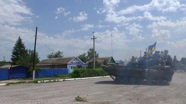 Ukraińscy żołnierze na przedmieściach Słowiańska, opuszczonego przez separatystów na początku lipca