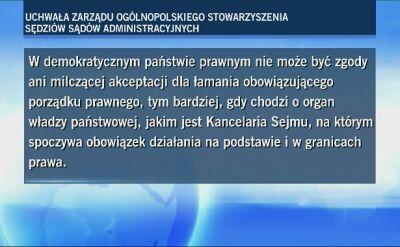 Ogólnopolskie Stowarzyszenie Sędziów Sądów Administracyjnych o sprawie list poparcia do KRS