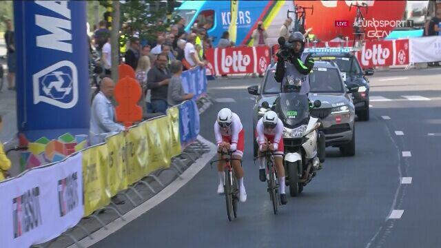 Mistrzostwa świata we Flandrii. Finisz żeńskiej ekipy Polaków w jeździe na czas drużyn mieszanych