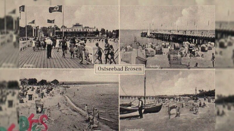 Plaża w Brzeźnie na starych pocztówkach