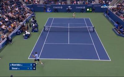 Skrót spotkania 1. rundy US Open Jannik Sinner - Stan Wawrinka