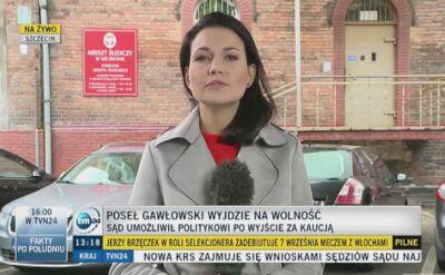 Gawłowski wyjdzie dziś na wolność