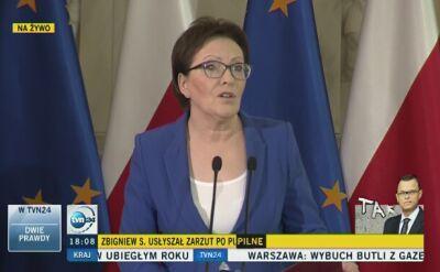 Ewa Kopacz na briefingu prasowym