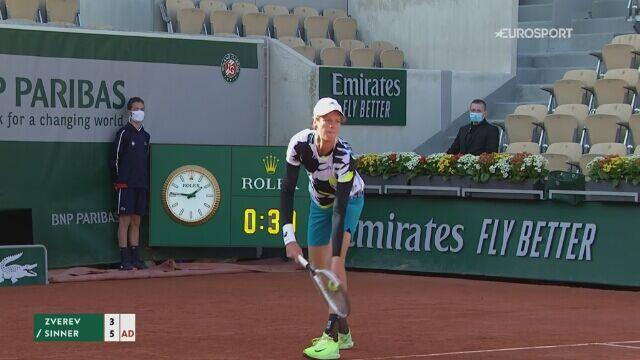 Skrót meczu 4. rundy French Open: Alexander Zverev - Jannik Sinner