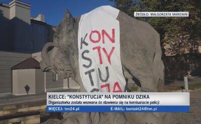 """Działaczka """"ubrała"""" dzika w koszulkę z napisem """"konstytucja"""""""