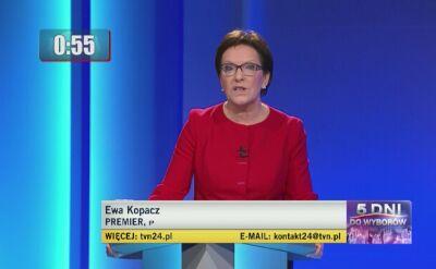 Ewa Kopacz odpowiada na pierwsze pytanie