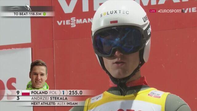 Skok Andrzeja Stękały z pierwszej serii konkursu drużynowego w Zakopanem