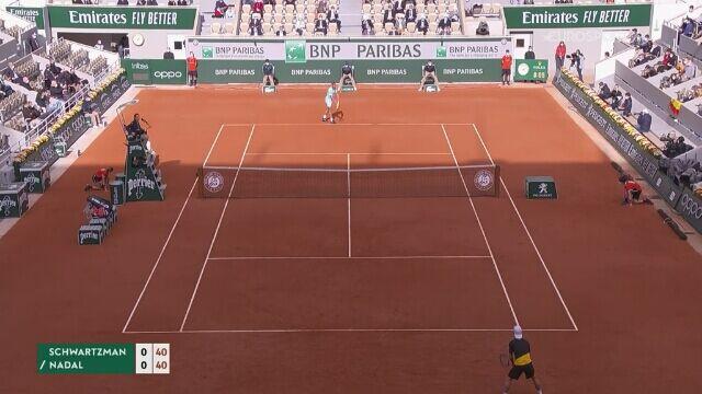 Najważniejsze momenty meczu Schwartzmann - Nadal w półfinale French Open