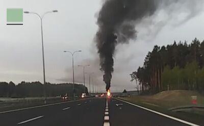 Pożar samochodu z końmi