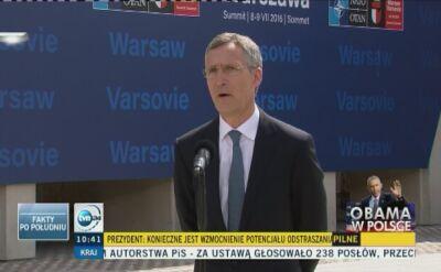 Stoltenberg: przystosowujemy Sojusz do nowych zagrożeń i nowych wyzwań