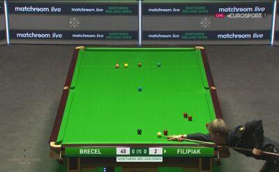 Problem z kontrolą białej bili Filipiaka w meczu z Brecelem