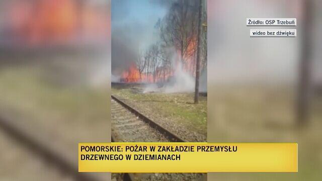 Ogromny pożar zakładu przemysłu drzewnego
