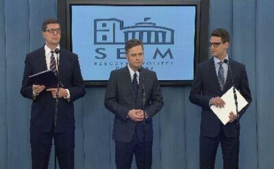Hofman, Kamiński, Rogacki tłumaczą się w Sejmie. Całość konferencji
