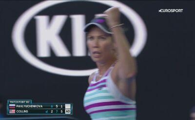 Ostatnia piłka meczu Pawluczenkowa - Collins w ćwierćfinale Australian Open