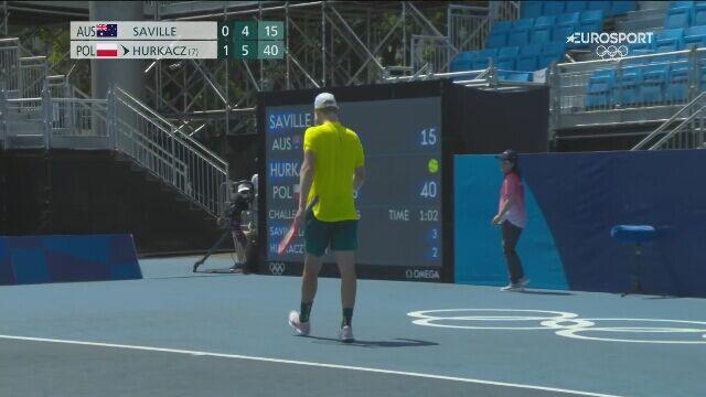 Tokio. Tenis: piłka meczowa w meczu Hurkacza z Saville