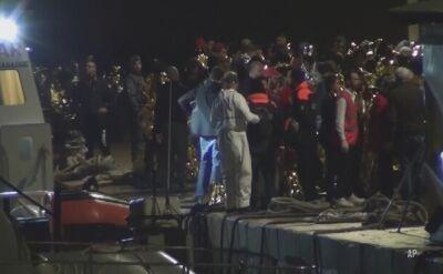 Przewrócona łódź imigrantów u brzegu Lampeduzy