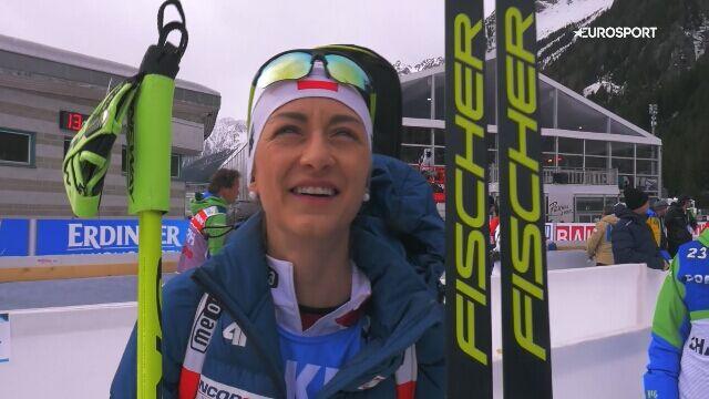 Monika Hojnisz-Starega po biegu ze startu wspólnego na MŚ