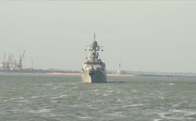 Wystrzelenie pocisków Kalibr z okrętów Flotylli Kaspijskiej