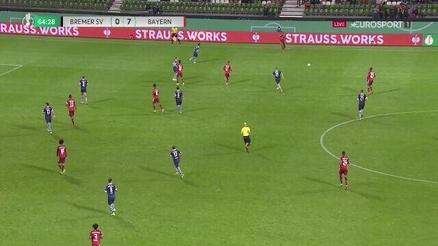 Puchar Niemiec. Bremer SV - Bayern Monachium 0:8 (gol Sane)