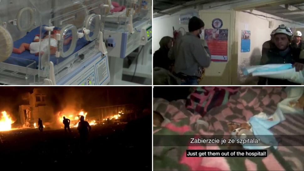 Bomby spadły na szpital, w którym rodziły się dzieci. Dramatyczne nagrania z Idlib