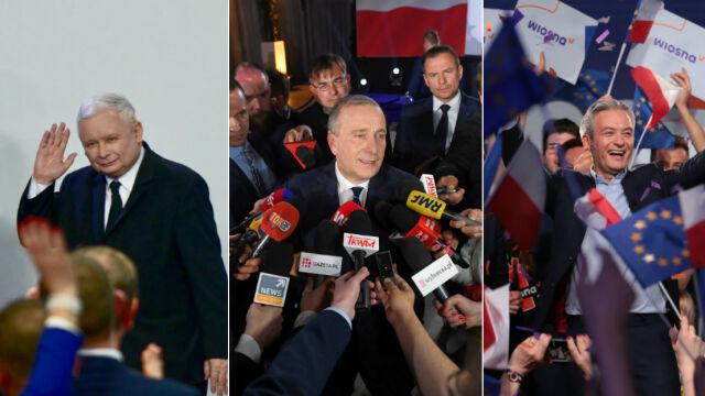 """Wielka mobilizacja i historyczny wynik. Na podium PiS, Koalicja i Wiosna (""""Fakty"""" z dn. 27.05.)"""