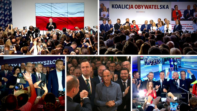 14.10.2019 | W PiS ostrożna radość, w KO rozczarowanie, w PSL ulga. Tak wyglądał wieczór wyborczy