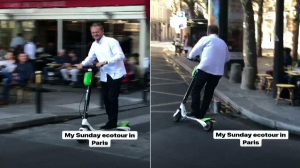 Przez Paryż na elektrycznej hulajnodze. Donald Tusk opublikował nagranie