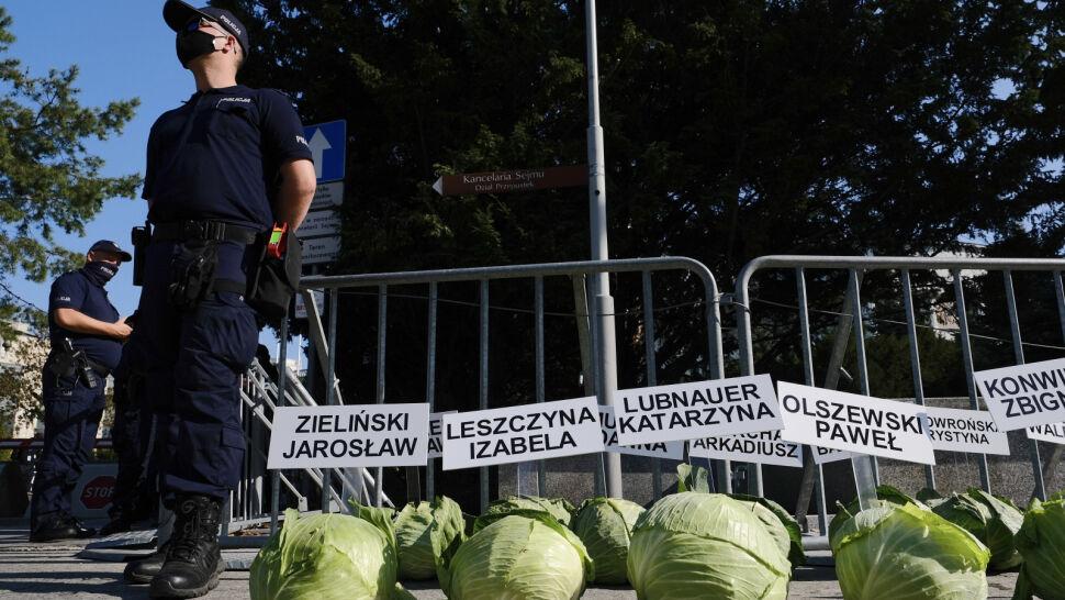 """Rolnicy przeciw """"piątce dla zwierząt"""". Przed Sejmem zorganizowali nietypowy happening"""