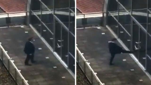 22.11.2019   Nerwowa reakcja europosła PiS, uwięzionego na balkonie europarlamentu