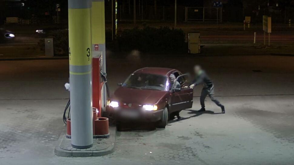 Kradzież benzyny zakończona uszkodzeniem samochodu. Wszystko nagrały kamery
