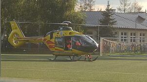 Wypadek z udziałem motocyklisty. Śmigłowiec zabrał go do szpitala