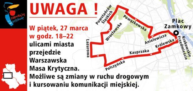 Trasy marcowej Masy Krytycznej UM Warszawa