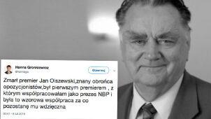 Gronkiewicz-Waltz: Współpraca z Janem Olszewskim była wzorowa