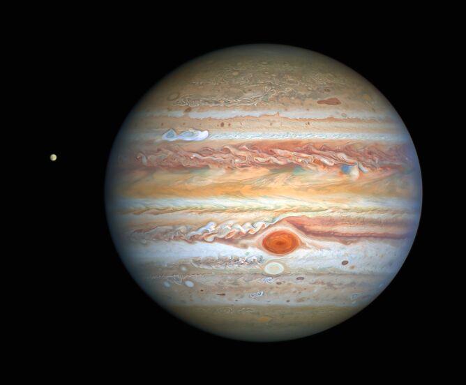 Najnowsze zdjęcie Jowisza wykonane przez Kosmiczny Teleskop Hubble'a (NASA, ESA, A. Simon (Goddard Space Flight Center), and M. H. Wong (University of California, Berkeley) and the OPAL team.)