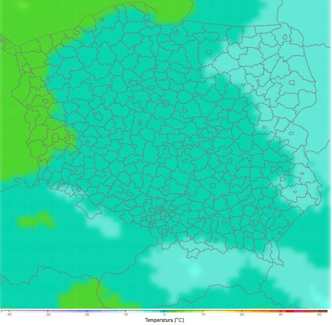 Średnia dobowa temperatura zimą w latach 2021-2030. Scenariusz RCP8.5 (klimada2.ios.gov.pl)