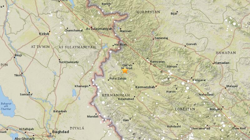Epicentrum trzęsienia ziemi w Iranie (USGS)