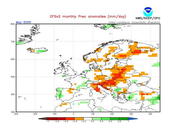 Prognoza odchylenia na plus średniej miesięcznej opadów na marzec 2020 (NWS/NCEP/NOAA)